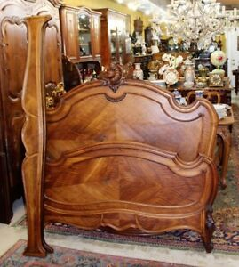 Antique Walnut Wood French Louis Xv Queen Size Bed Headboard Footboard