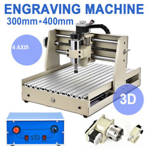 4 Axis 3040 Engraving Machine 400w Wood Carving Router Engraver Desktop Usa
