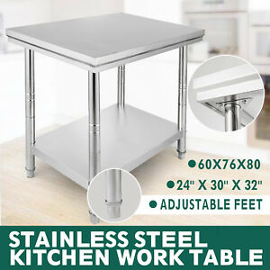 24x30 Stainless Steel Work Table Bench Commercial Kitchen Restaurant Adjustable