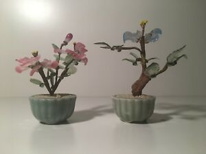 Pair Of Vintage Small Chinese Glass Jade Trees Flowers Pots