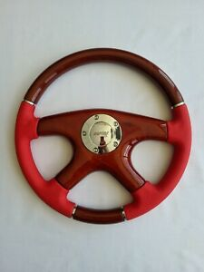Raptor 15 Red Leather Wood Grain Steering Wheel