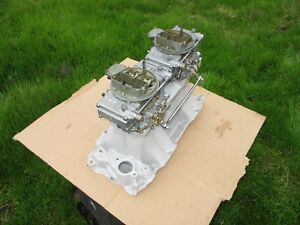 Weiand Chevy 454 Bbc Tunnel Ram Intake Manifold 2x4 Holley 780 Carbs