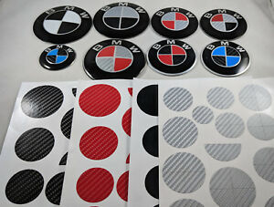 4x Black Red Silver Carbon Fiber Set Auto Vinyl Stickers Overlay For Bmw Emblems