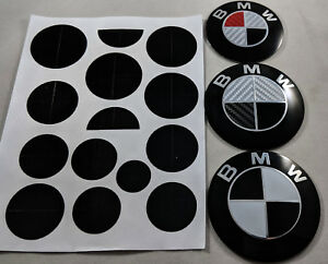 1x Glossy Black Full Set Automotive Vinyl Stickers Overlay For Bmw Emblems