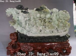 14 Rare Natural Dushan Jade Peach Lotus 8 Immortal Eight Gods Dragon Boat Ferry