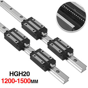 2x Hgh20 1200 1500mm Linear Rail Fully Supported Shaft Rod With 4x Hgh20uu Block