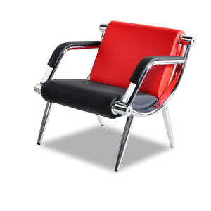 Red Waiting Room Office Chair Reception Pu Leather Airport Guest Sofa Modern