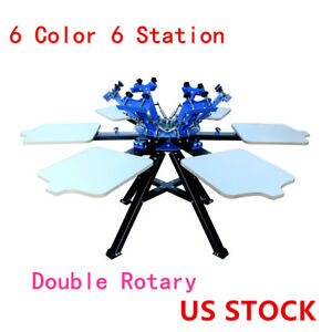 Us 6 Color Screen Printing Press 6 Station Printer Double Rotary Print Equipment
