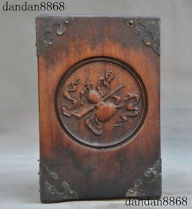 Old Chinese Huanghuali Wood Inlay Bronze Auspicious Statue Brush Pot Pencil Vase