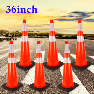 6pc 36 Traffic Cones Road Safety Cone Parking Construction Reflective Strip Us