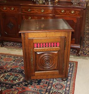 Antique Oak Renaissance Louis Xiii Small Single Door Side Cabinet With Lock Key