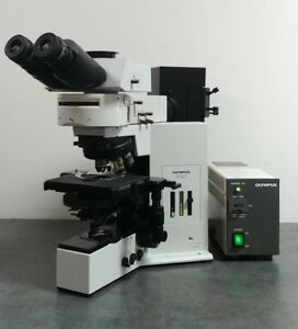 Olympus Microscope Bx50 With Dic Fluorescence And Trinocular Superwide Head