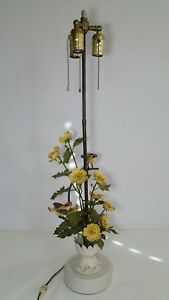 Vintage Table Lamp Metal Toleware Flowers Birds Italian Regency Shabby Chic