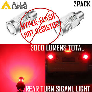 1156 Led Canbus No hyper flashing Rear Turn Signal Light Bulb Vivid Red Blinker