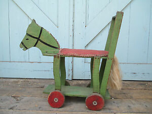 Antique Wooden Folk Art Horse Push Toy Americana Early 1900 S Apple Green