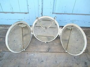 Antique Victorian Brass 3 Part Oval Mirrors Painted White Surface Shabby