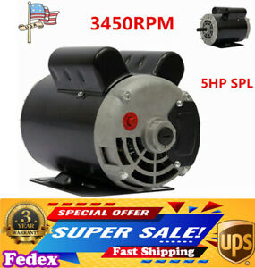 5hp Spl 3450rpm Air Compressor 60hz Electric Motor 208 230volts Single Phase Ups