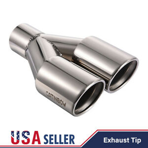 Stainless Steel Dual Double Exhaust Tip Weld On 2 25 Inlet 3 Outlet 9 5 Long