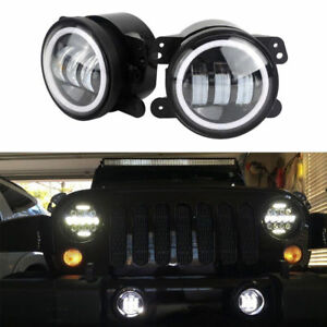 Super Bright Led Halo Fog Driving Light Fit 07 16 Jeep Wrangler Jk 4 Inch Pair