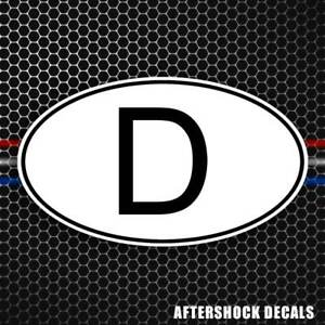 D Germany Country Code Oval Sticker German Euro Car Truck Bumper Window Decal
