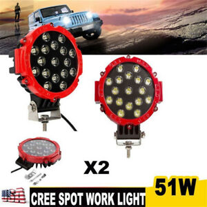 2pcs 51w Round Led Work Light Ute Boat Truck Offroad Auxiliary Driving 7inch Red