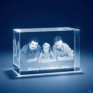 Christmas Laser Engraved 3d Crystal Personalized Engrave Gift Large Brick Shape