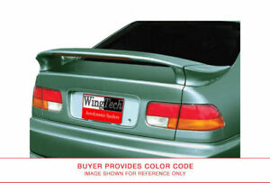Painted Custom Rear Spoiler Lighted For Honda Civic Coupe 3pc Mid Wing 1996 2000