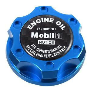 Blue Oil Filler Cap W Black Carbon Fiber Mobil One For Chrysler Jeep Dodge Ram