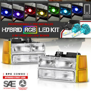 adjustable Color Led Low Beam 94 98 Chevy Silverado Tahoe Suburban Headlights