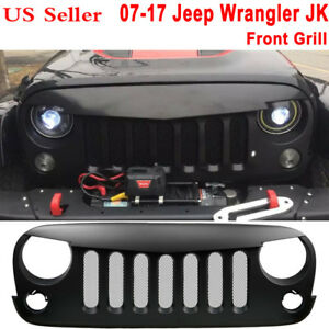 Black Matte Front Grill Grille Grid With Mesh Angry Bird Fit Jeep Wrangler Jk