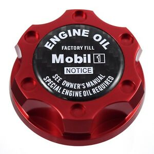 Red Oil Filler Cap W Carbon Fiber Mobil One Emblem For Chrysler Jeep Dodge Ram