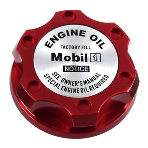 Red Oil Filler Cap With Silver Mobil One Emblem For Chrysler Jeep Dodge Ram