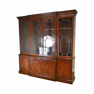 Councill Craftsman Monumental Chippendale Style Mahogany Breakfront