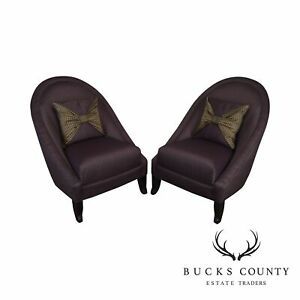 Directional Custom Purple Upholstered Pair Of Club Chairs