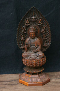 Buddhist Statue Kanzeon Bodhisattva Wood Carving Japanese Antique From Japan