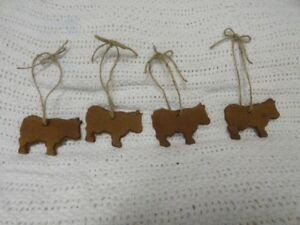 Set Of 4 Primitive Cinnamon Cows Bowl Fillers Ornie Ornaments Tags Handmade