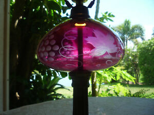 Antique Cranberry Glass Cut To Clear New England Style Marble Base Lamp