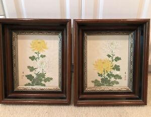 Antique Pair Of Chinese Artist Signed Sealed Framed Kiku Paintings On Fabric