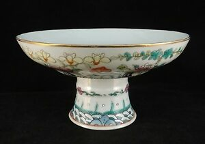 Chinese Qing Dynasty Hand Painted Enameled Porcelain Footed Bowl 19th C 7 D
