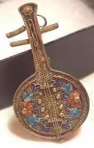Rare Antique Chinese Enamel Gold Gilt Silver Filigree Lute Pipa Brooch Pendant