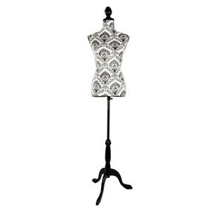 Female Mannequin Torso Dress Clothing Form Display Tripod Stand Black Decorative