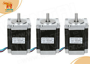 usa Ship 3pcs Wantai Nema23 Stepper Motor 287oz in 3 0a 57bygh627 Cnc Engraver