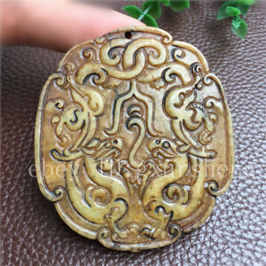 China Antique Collection Old Jade Ancient Jade Double Dragon Pattern Decoration