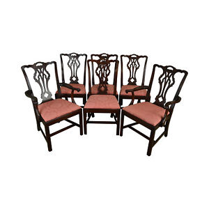 Statton Old Towne Solid Cherry Chippendale Style Set 6 Dining Chairs
