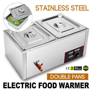 2 pan Counter Top Warmer Bain marie Buffet Steam Table Food Warmer 2 Lids