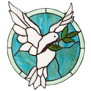14 Hx12 H Tiffany Style Stained Glass Bird Of Peace White Dove Round Authentic