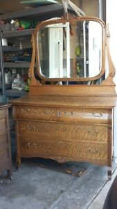 Antique Quarter Sawn Tiger Oak Dresser With Tilting Beveled Mirror