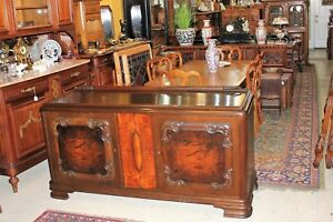 French Antique Oak Walnut Art Deco 2 Door Sideboard Server Wine Bar Cabinet