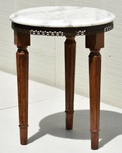 Vintage Hollywood Regency Mid Century Italian Wood Side Table With Brass Accents