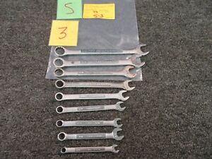 9 Pc Craftsman Sae standard Combination Wrench V Vv Tool 11 16 To 1 4 Used